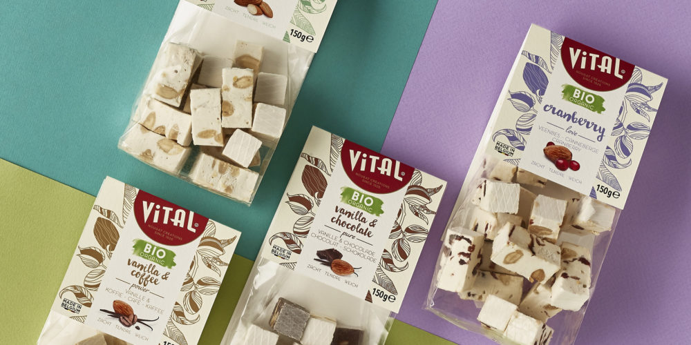 Vital nougat brand repositioning / packaging design by DesignRepublic, branding & packaging design Belgium
