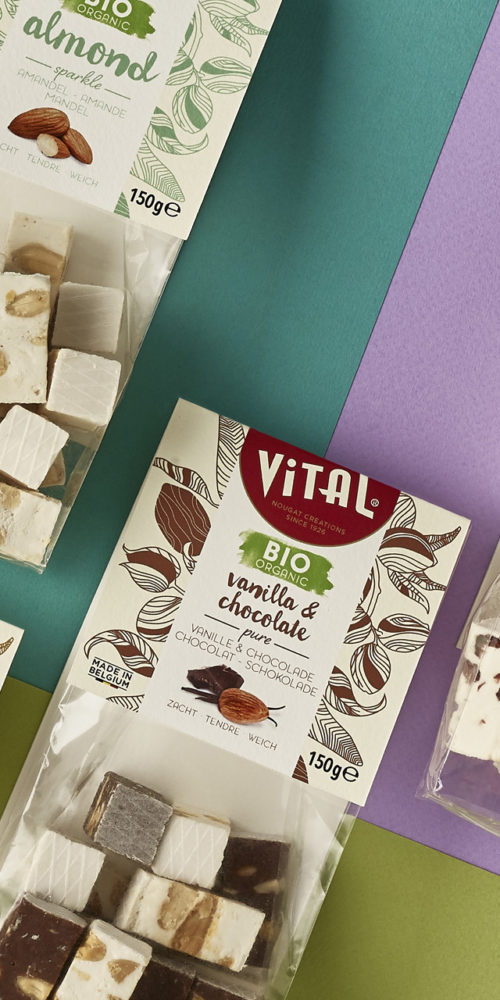 Vital nougat brand repositioning / packaging design by DesignRepublic, branding & packaging design Belgium